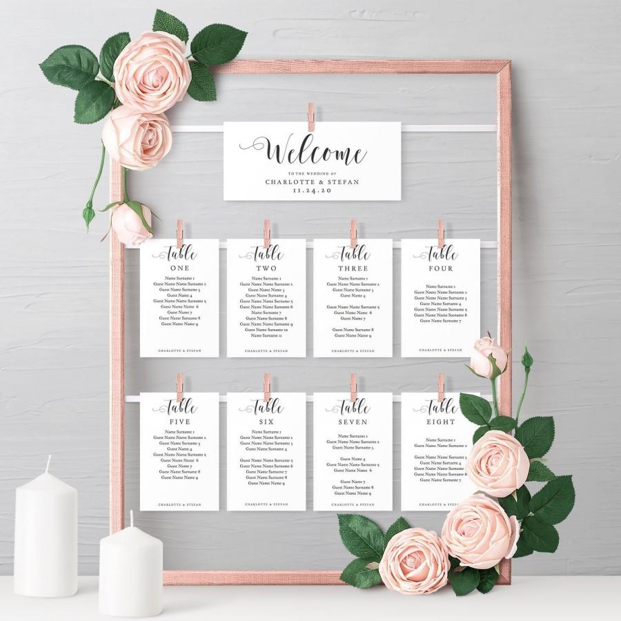 Mariage - Make a DIY Hanging Seating Chart Frame with these Printable Seating Card Templates, Table Plan, instantly download 'Mr. & Mrs.' Editable PDF