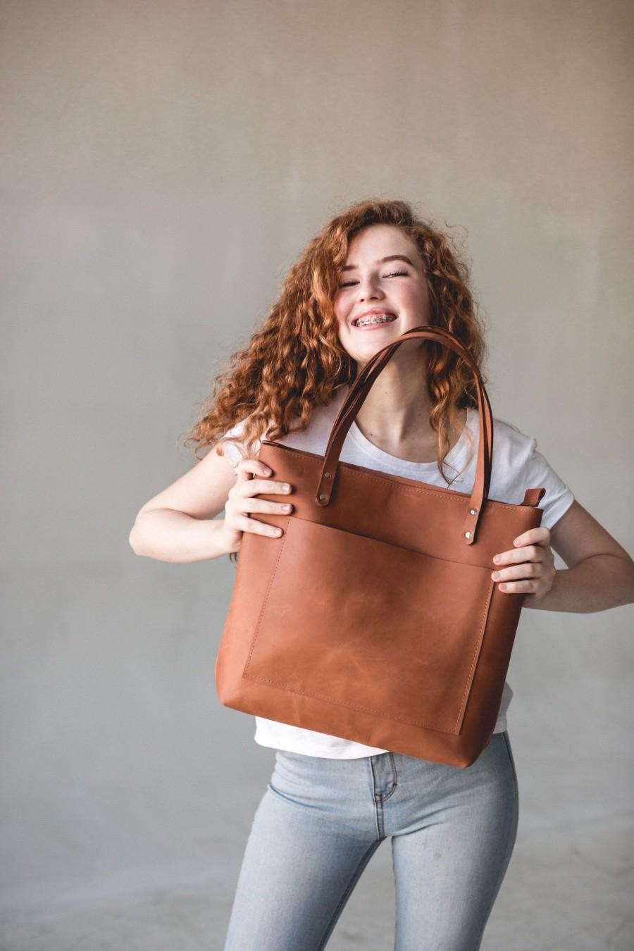 Wedding - Genuine Perfectly Brown Leather Tote Bag For Women • Monogram Crossbody Purse • Leather Shoulder Bag With Pockets • Full Grain Leather Bag