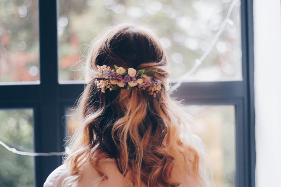 Hochzeit - Purple/blush pink roses Rustic Hair Comb , bridal hair comb, purple hair comb, wedding hair comb, wedding comb, purple wedding
