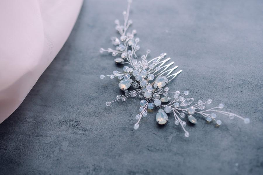 Hochzeit - Blue opal Hair Comb-Bridal hair comb-Wedding hair comb-Wedding headpiece- Bridal head piece-Wedding hair vine-Bridal hair vine