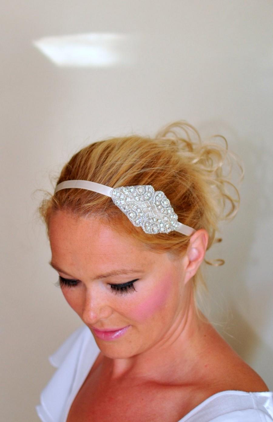 Wedding - Bridal Headband Ivory Wedding Headband Wedding Rhinestone Crystal Bridal Hair Band Vintage Head wrap Romantic Girly