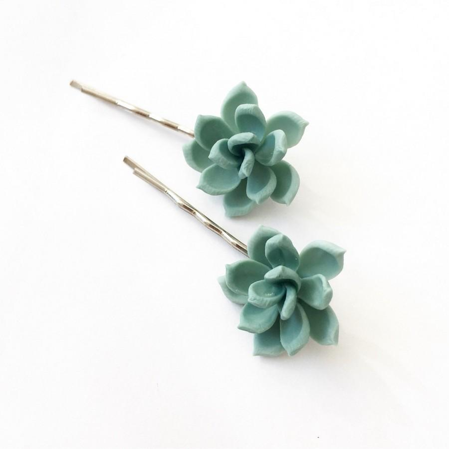 Wedding - Succulent hair pieces mint succulent bobby pins succulent hair pins rustic hair pieces mint hair pieces succulent wedding bridesmaids pins