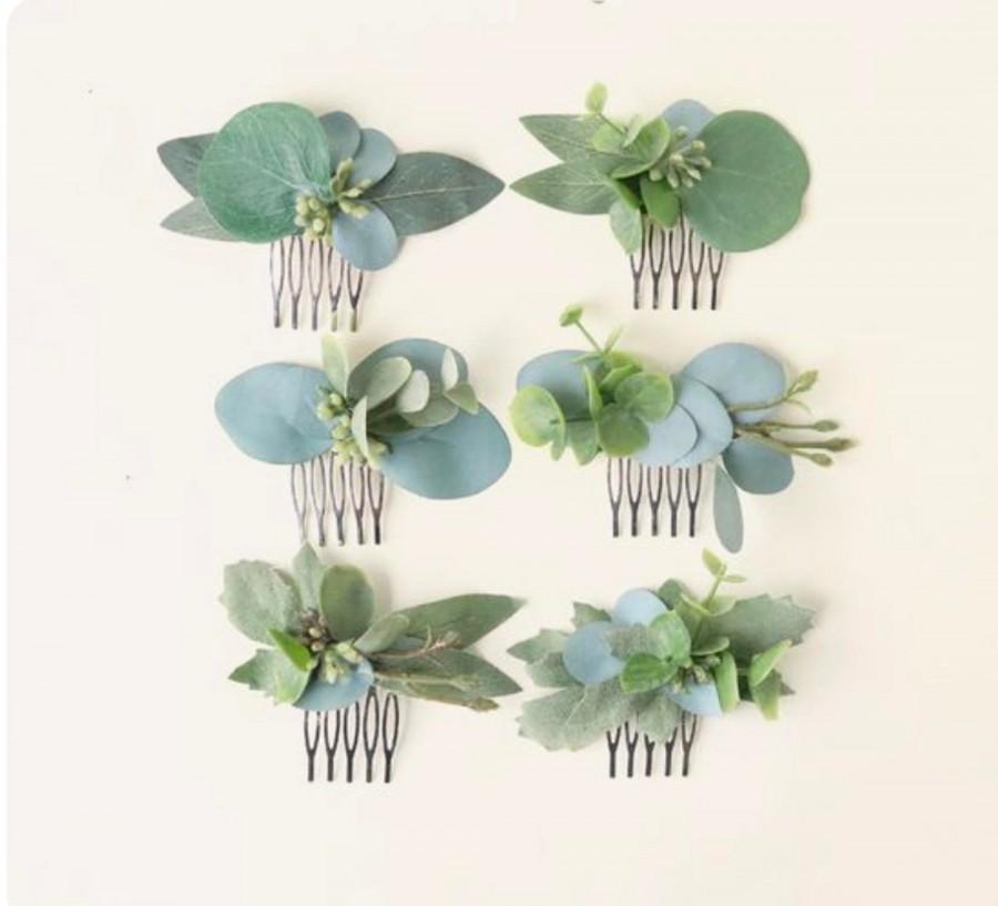 Hochzeit - Mini eucalyptus comb, Bridesmaid hair comb, Bridal hair accessory, Greenery hair comb, Eucalyptus hair comb, Small leaf clip, Boho bridal
