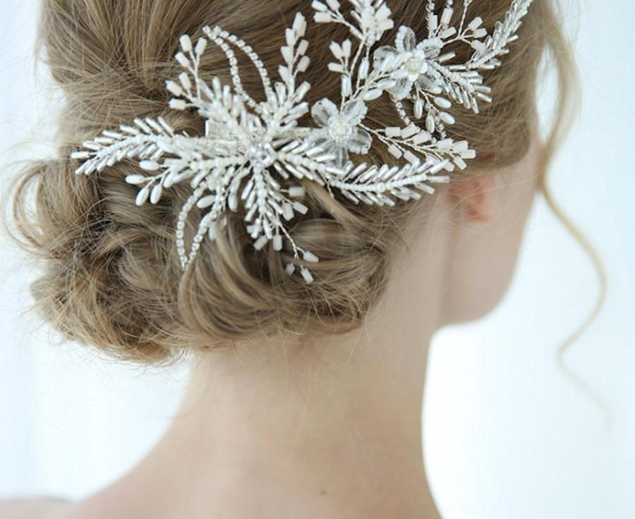 Hochzeit - Bridal large headpiece white floral Silver leaf Crystal bead Hairpieces Hair comb Accessory elegant Bride veil clip Wedding Gift
