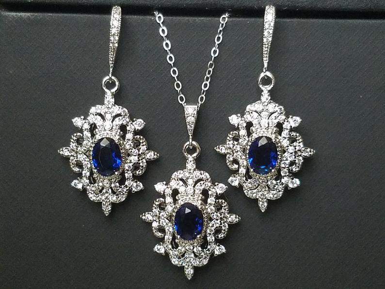 Свадьба - Bridal Jewelry Set, Wedding Earrings&Necklace Set, Navy Blue Silver Halo Jewelry Set, Vintage Bridal Jewelry Sapphire Blue Victorian Jewelry