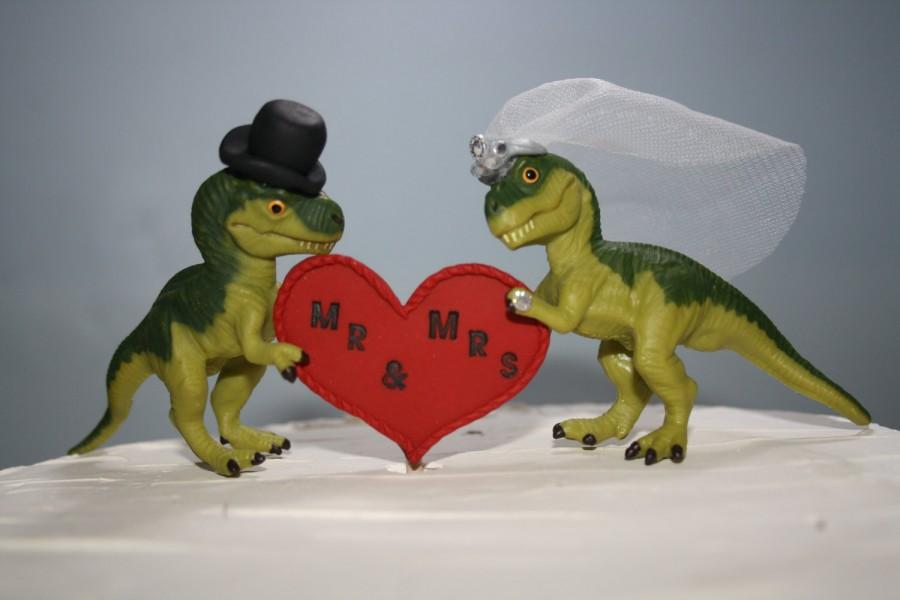 زفاف - Dinosaur Wedding Cake Toppers - Dinosaurs - Jurassic Park Wedding - T-Rex Cake Toppers - Custom Cake Toppers - Unique - Green - Cake Tops