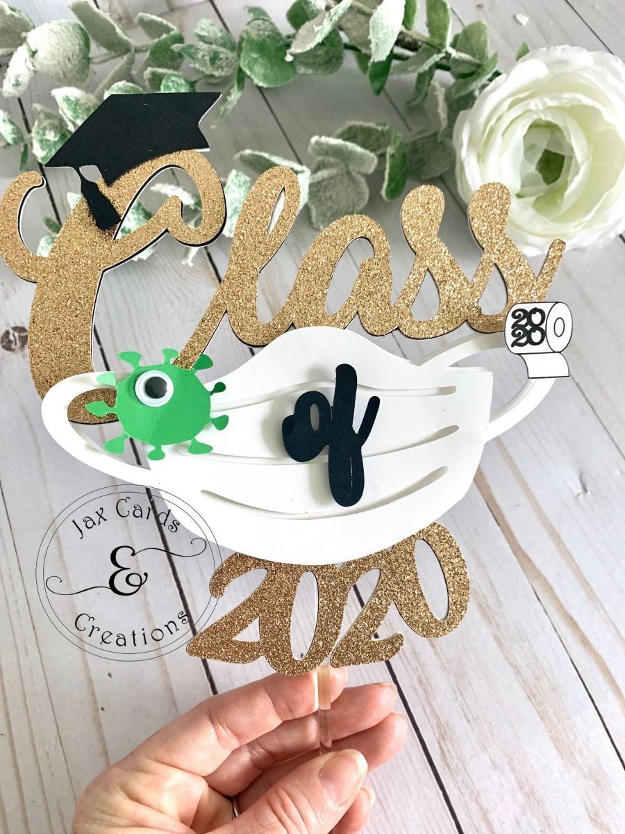 زفاف - Gold Graduate Quarantined /  2020 Graduation cake topper / Quarantine Graduation cake  topper   / Virtual Graduation / class of 2020 /
