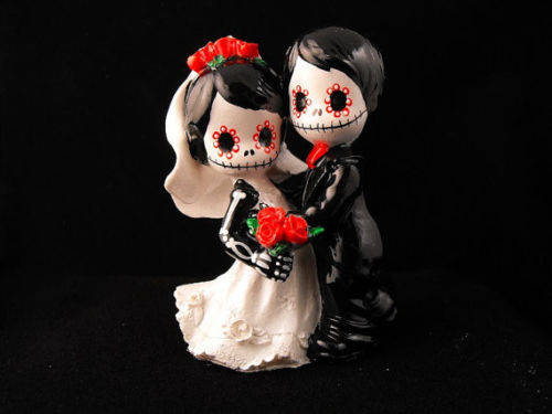 Wedding - Wedding Cake Topper Day of the Dead Skeleton Couple 3 Inches