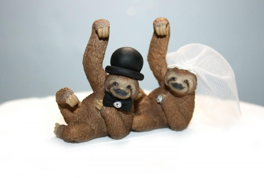 Свадьба - Wedding Cake Toppers - Sloths - Sloth Cake Toppers - Animal Cake Toppers - Sloth Decor - Jungle Wedding - Wedding Decor - Cake Top