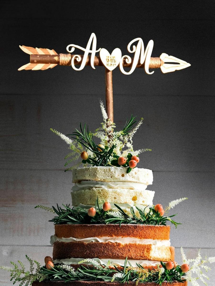 زفاف - Rustic Wedding Arrow Cake Topper. Initials cake topper. Custom cake topper. Custom cake topper. Bridal Shower. Rustic Country Chic Wedding.