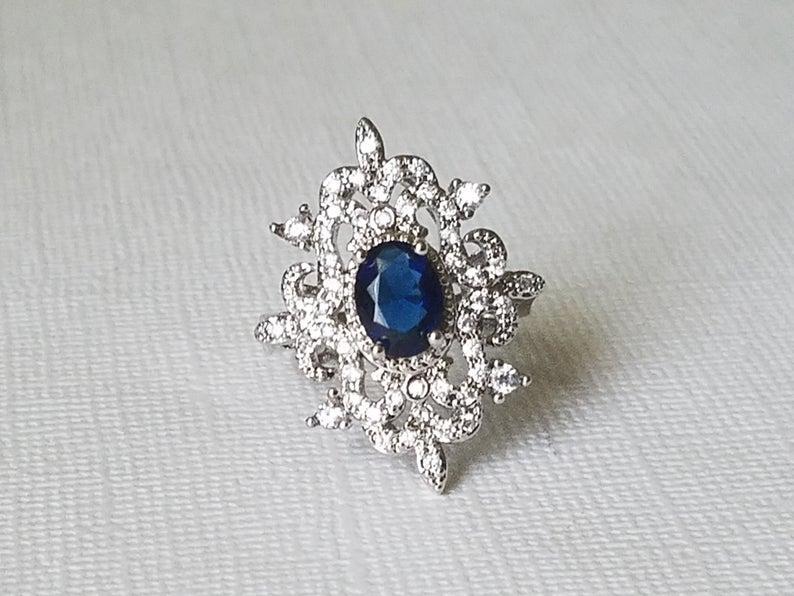 Mariage - Navy Blue Teardrop Ring, Rhodium Plated Dark Blue Halo Ring, Sapphire Blue Crystal Ring, Navy Blue Jewelry, Dark Blue Women Jewelry