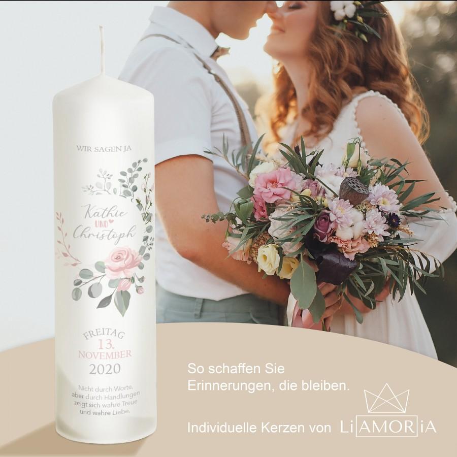 """Mariage - Hochzeitskerze mit Beschriftung - """"Modell rosa Rose"""" Namen und Datum sowie Spruch - Personalisierbar"""