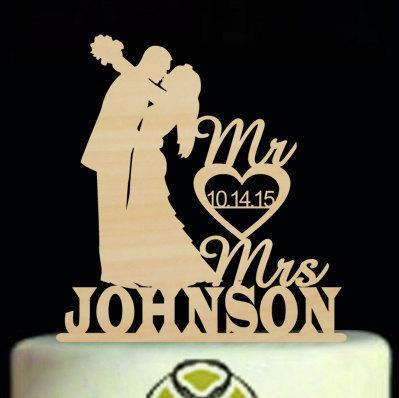 زفاف - Personalized Wedding Cake Topper,Custom Wooden Silhouette Cake Topper With Mr & Mrs Last Name And Date For Wedding,Bride and Groom Topper