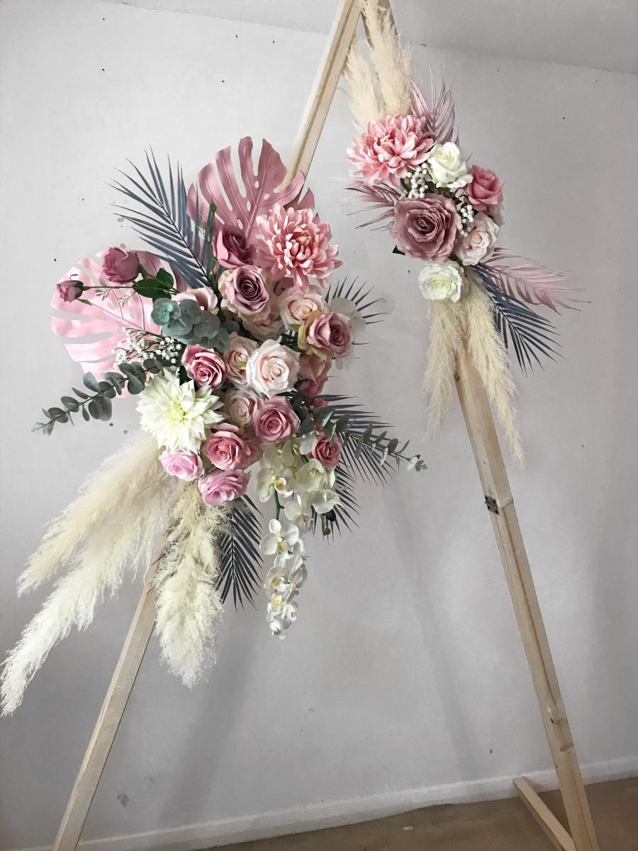 Mariage - Boho Flower arch, wedding arch, flower swag, flower arch arrangement, wedding swag, boho flower arrangement, pampas flower arch, pampas swag