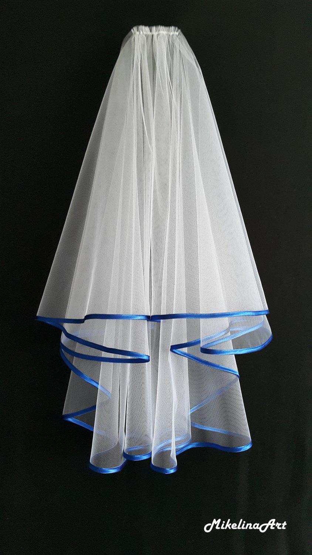 Wedding - White Wedding Veil, Two Layers, Royal Blue Colour Satin Edging.