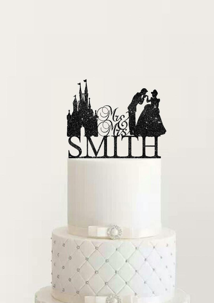 Hochzeit - Fairytale Personalized Wedding Cake Topper Cinderella and Prince Charming Mr and Mrs with Surname Princess and Prince Wedding
