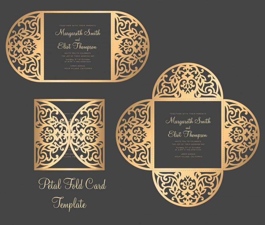 Hochzeit - Petal Fold SVG Wedding Invitation Card Template, Laser cut, Quinceanera Invitation, cutting file, Silhouette Cameo, Cricut