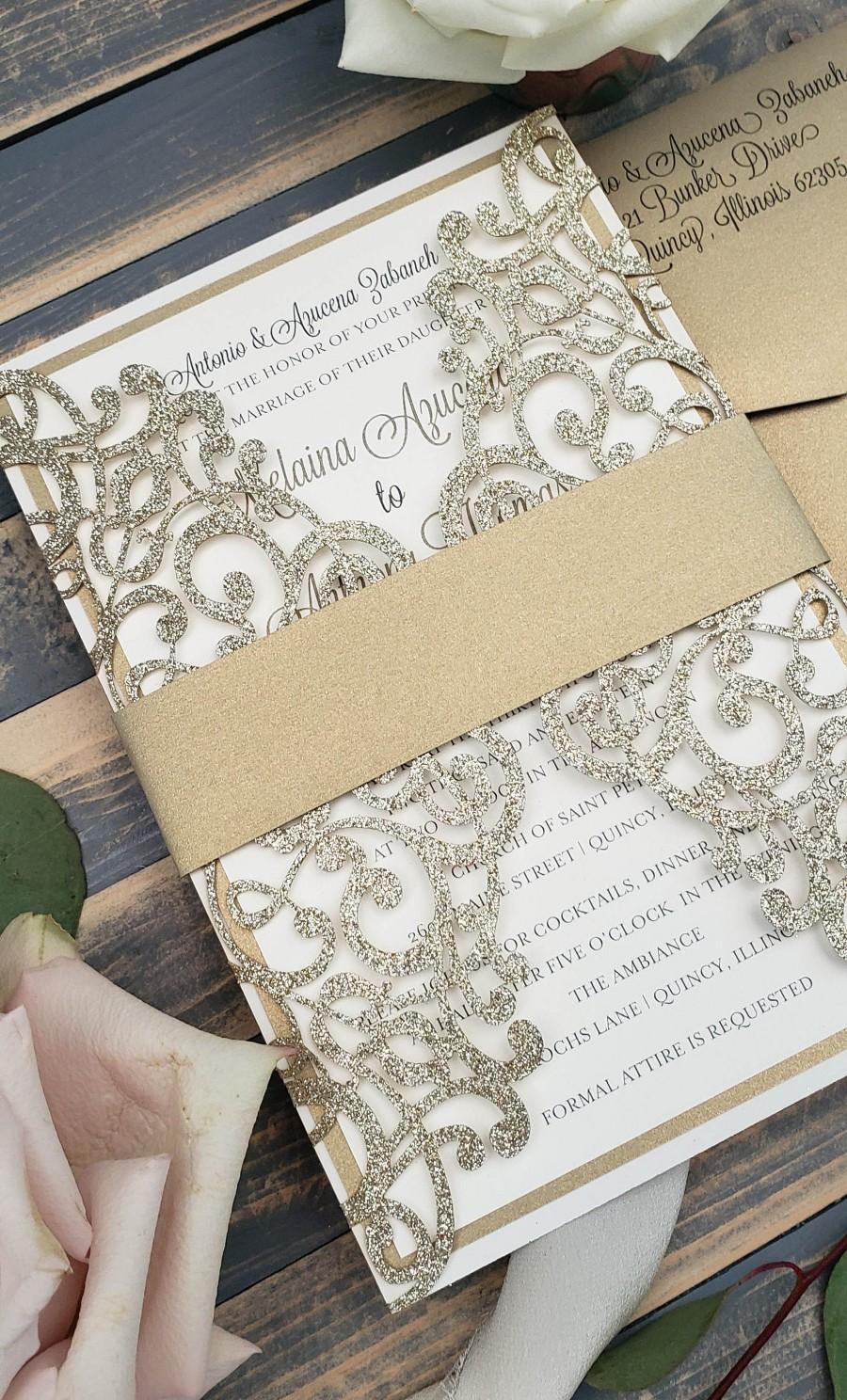 Hochzeit - Gold Glitter Laser Cut Wedding Invitations, Elegant Winter Wedding Invite, Formal Glitter Custom Invitation Suite
