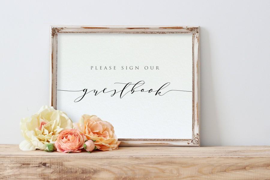 زفاف - Guestbook Sign, Please Sign our Guestbook Printable, Wedding Guestbook Sign, Edit with TEMPLETT, Printable Guestbook Sign, WLP-SCR 1561