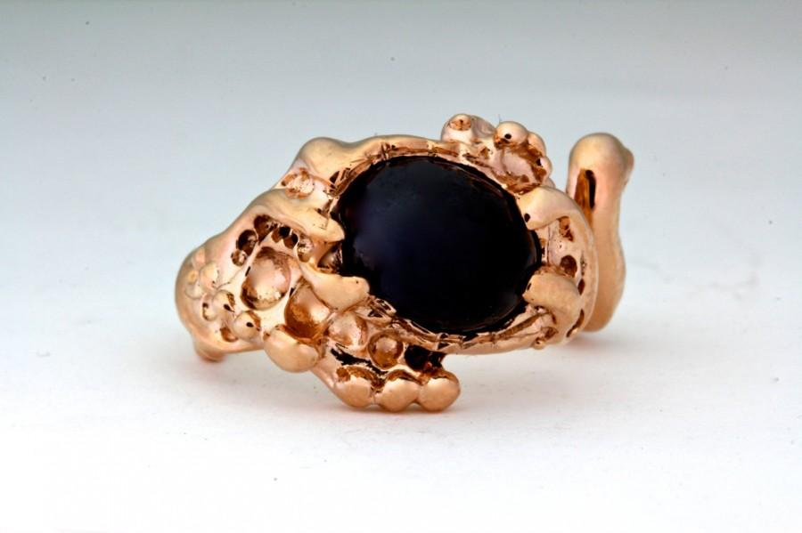 Hochzeit - Solid 14k Rose Gold Blue Sapphire Ring Ocean Wave Ring made in NYC Blue Bayer Design