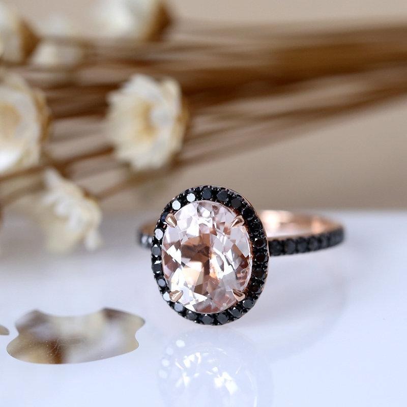 Hochzeit - Black Diamond Halo Engagement Ring, 8*10mm Oval Cut Natural Morganite Wedding Ring, 14K Rose Gold Bridal Ring, Promise Ring