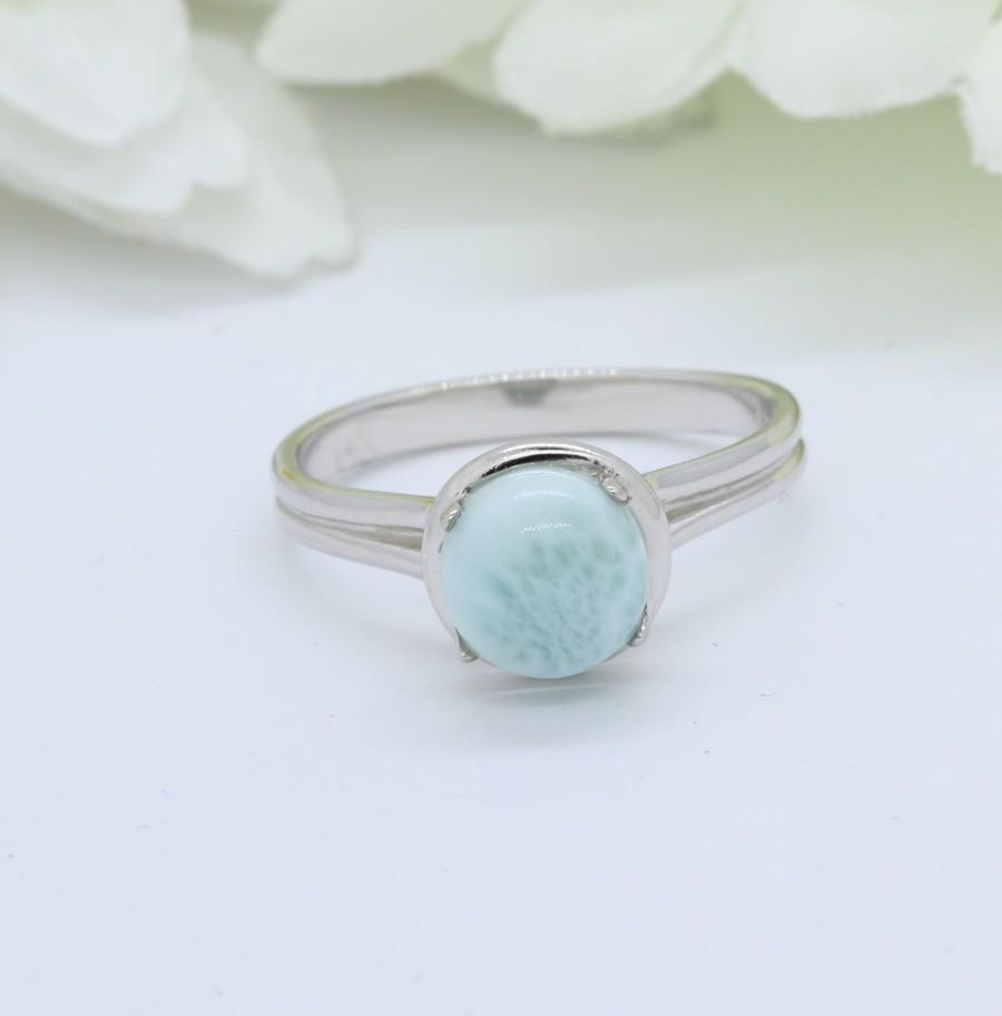 Hochzeit - Round Natural Dominican Larimar Solitaire Wedding Engagement Ring Solid 925 Sterling Silver Larimar Ring