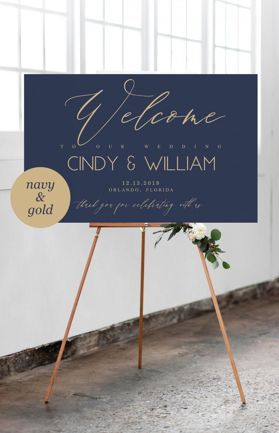 Mariage - Navy and Gold Welcome Wedding Sign Template, Navy Wedding Welcome Sign, Editable Template, Welcome Wedding Board, Wedding Sign, 201