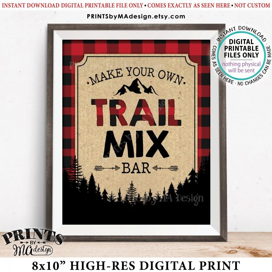 """Hochzeit - Trail Mix Bar Sign, Make Your Own Trail Mix Lumberjack Style Trail Mix Decor, Red Checker Buffalo Plaid, PRINTABLE 8x10"""" Trail Mix Sign <ID>"""