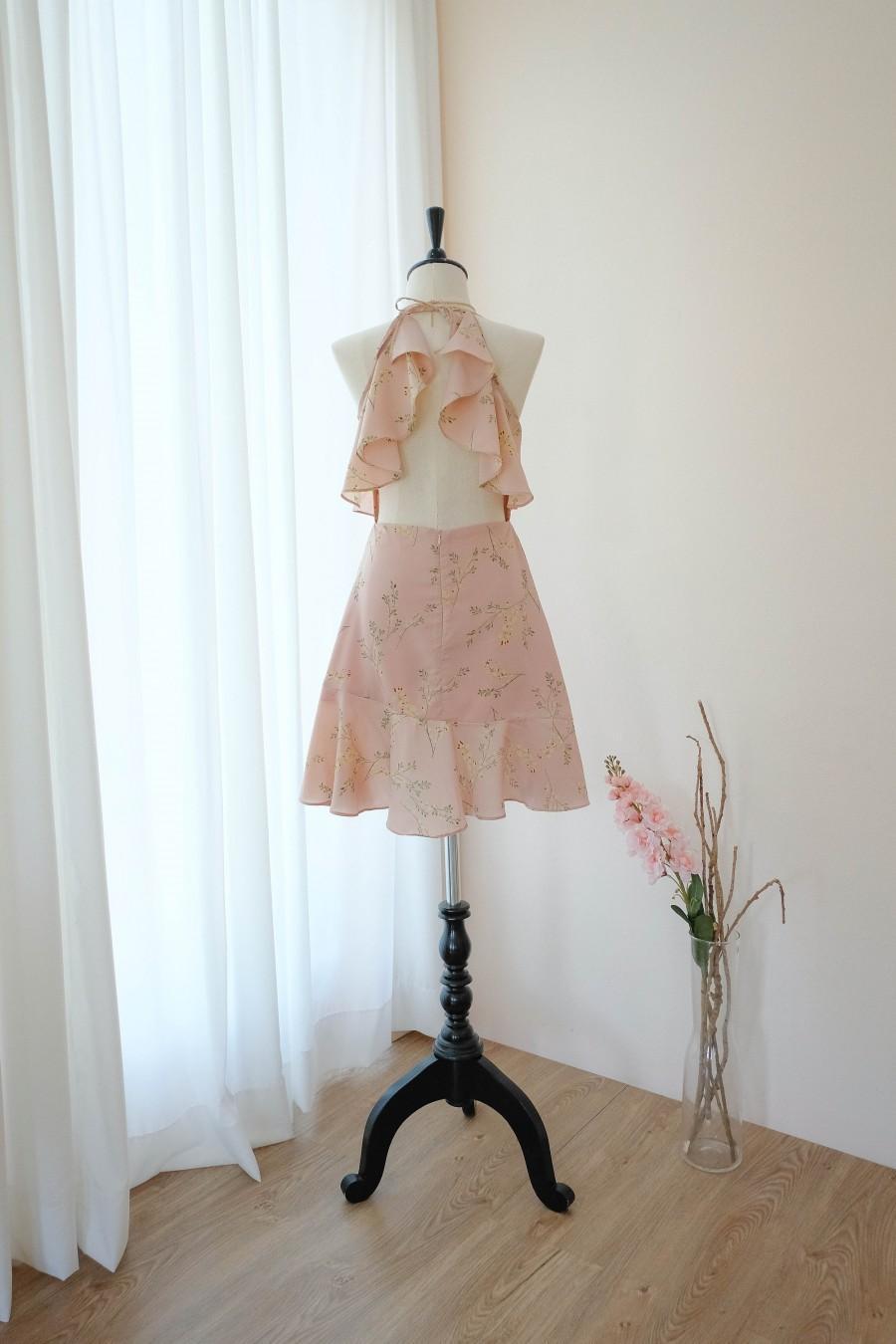 Hochzeit - Pink Dress Floral Sundress Summer dress Backless Spring Dress Women Bridesmaid dress Party Cocktail Dress Summer Wedding Short dress
