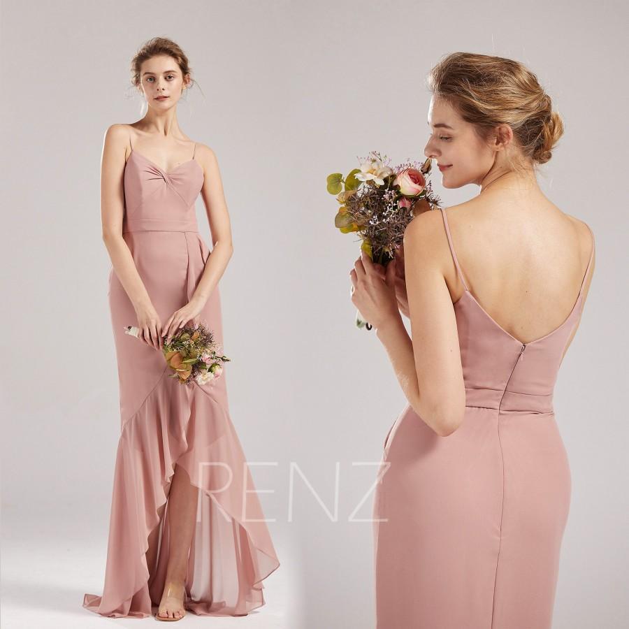 Hochzeit - Prom Dress Dusty Rose Chiffon Bridesmaid Dress V Neck Ruffled High-low Skirt Party Dress Spaghetti Strap Formal Dress Long Train Dress(L648)