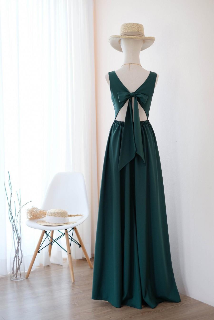 Hochzeit - Forest Green dress Long Bridesmaid dress Forest Green Wedding Dress Long Prom dress Party dress Cocktail dress Maxi dress Evening Gown