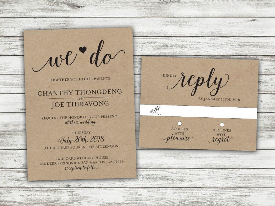 Mariage - We Do Country Wedding Invitations Set Printed, Rustic Wedding Invitation, Burlap, Kraft, Wood, Outside, Southern Wedding Invitations, Heart