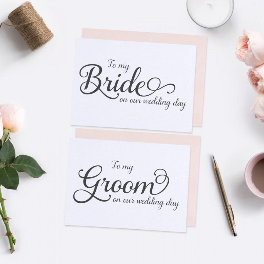 Hochzeit - To my Groom card & To my bride card (set) - To my groom on our wedding day - To my bride on our wedding day - Wedding day cards - C001-SET1