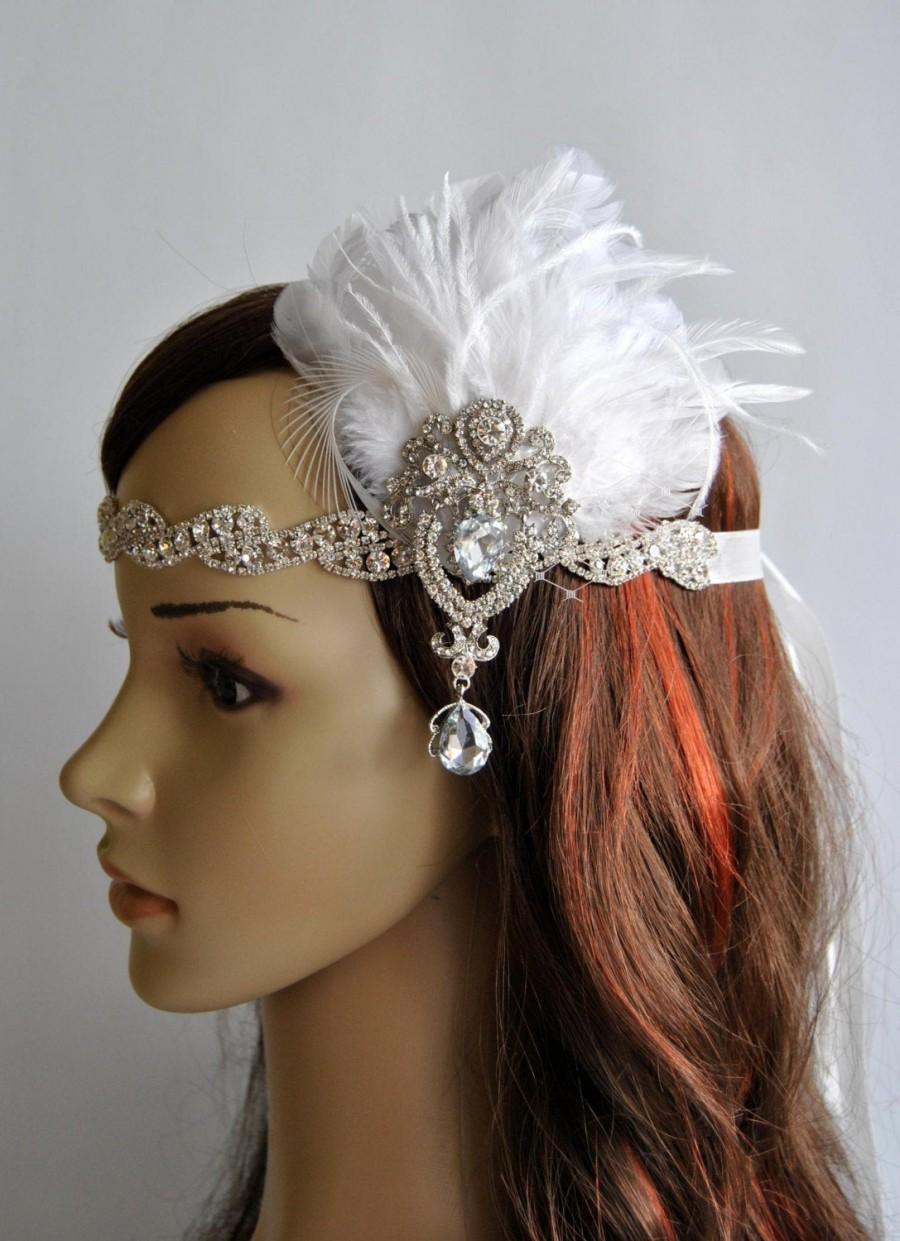 Hochzeit - SALE Glamour Rhinestone Flapper 1920s headpiece, Rhinestone Bridal crystal wedding headband, the great gatsby headpiece, rhinestone flapper