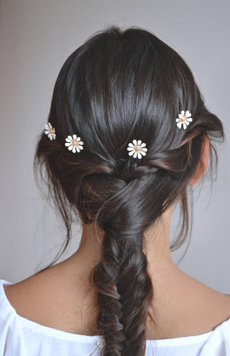 Свадьба - Lot of 3 hair spades head jewel wedding, wedding bun pic. Flower, white daisy. Romantic Boheme
