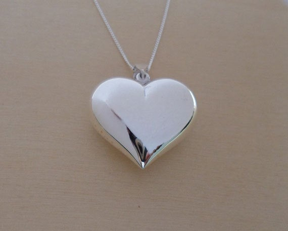 """Mariage - 925 Sterling Silver, Polished Puff Love Heart Pendant / Charm 25 mm on 16, 18 or 20"""" Silver Curb Chain"""