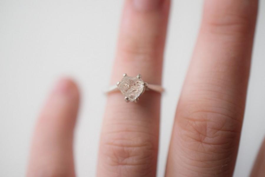 Свадьба - Simple Raw Diamond Engagement Ring Rough Diamond Wedding Band Unique Gemstone Sterling Silver Promise Ring Size 5 Engagement Avello