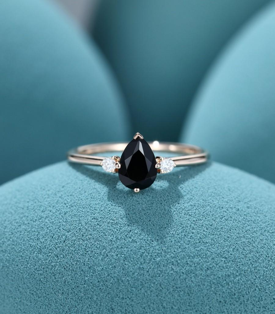 Свадьба - Black Onyx engagement ring for women pear shaped engagement ring moissanite rose gold vintage diamond three stone Bridal anniversary gift