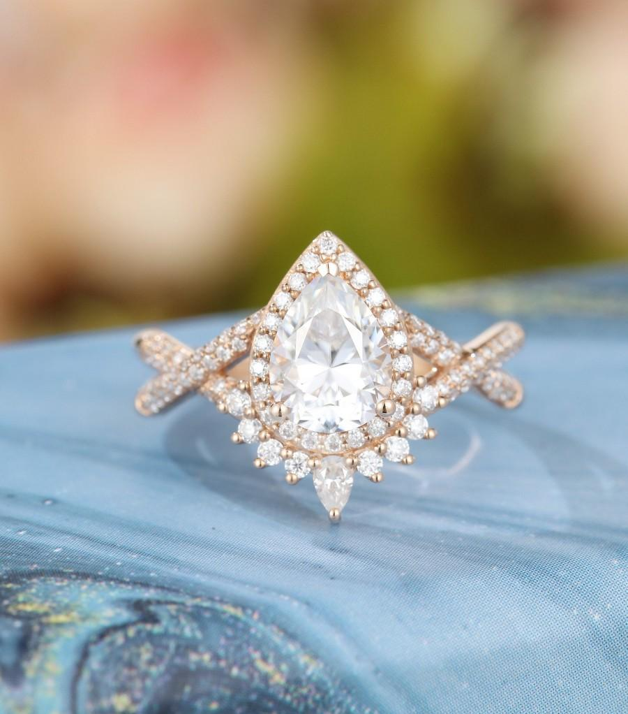 Свадьба - Pear shaped Moissanite engagement ring Rose gold Halo Unique Vintage engagement ring for women Twisted diamond wedding Bridal Promise gift
