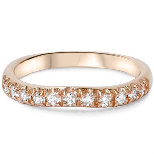Mariage - Diamond .25CT Curved Rose Gold Wedding Band Engagement Enhancer Notched Ring 14 Karat