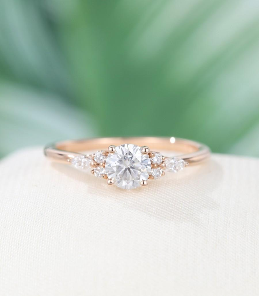 Mariage - Round cut Rose gold Moissanite engagement ring Marquise Unique Diamond  engagement ring for women vintage Bridal anniversary gift for her