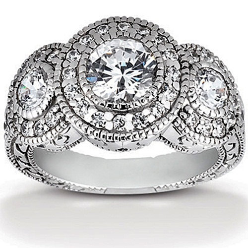 Mariage - Engagement Ring DiamondVintage Three Stone 1.50CT Diamond Engagement Ring 14K White Gold