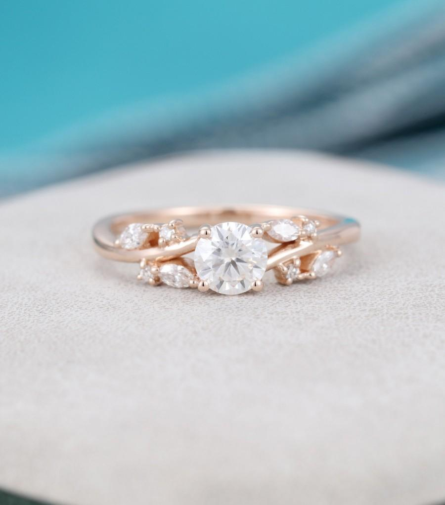 Mariage - Moissanite engagement ring rose gold Unique Cluster diamond engagement ring vintage Marquise cut wedding Bridal Promise gift for women