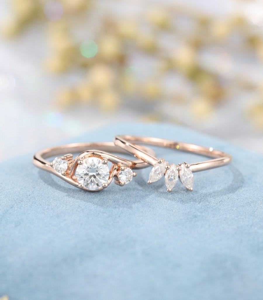 Mariage - 2PCS Rose gold engagement ring moissanite engagement ring set marquise stacking Unique Diamond wedding Bridal Anniversary gift for women