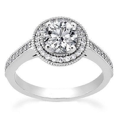 Mariage - Engagement Ring DiamondVintage 1.00CT Diamond Engagement Halo Ring Antique Milgrain 14K White Gold