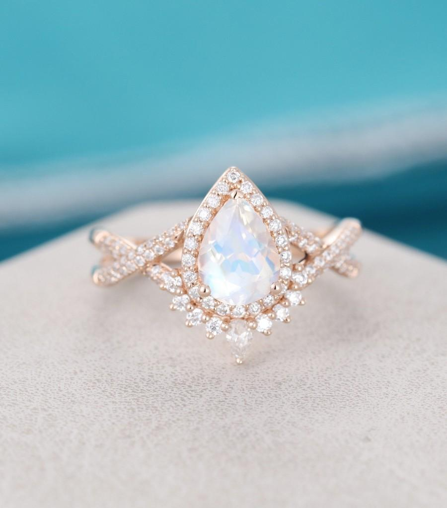 Mariage - Pear shaped Moonstone engagement ring for women Rose gold engagement ring vintage Unique Art deco moissanite wedding Bridal Anniversary gift