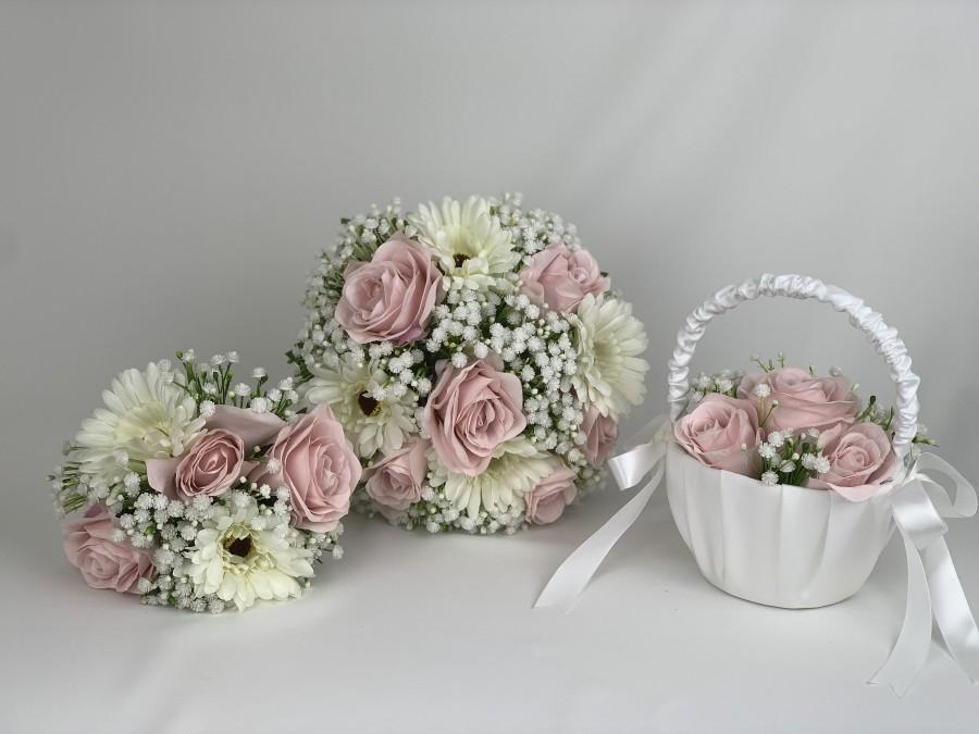 Wedding - Artificial wedding bouquets flowers sets with Gypsophila & pink roses with Gerbera