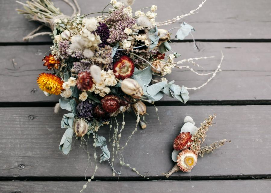 Mariage - Custom Bridal Bouquet and Boutonniere Set - personalized bridal bouquet and boutonniere to made match your wedding color palette