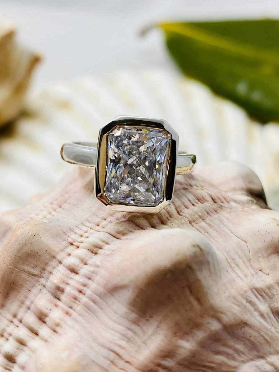 Wedding - Radiant Cut Engagement Ring, Radiant Cut Ring, Radiant Cut CZ Engagement Ring, Diamond Engagement Ring, CZ Solitaire Ring, Promise Ring