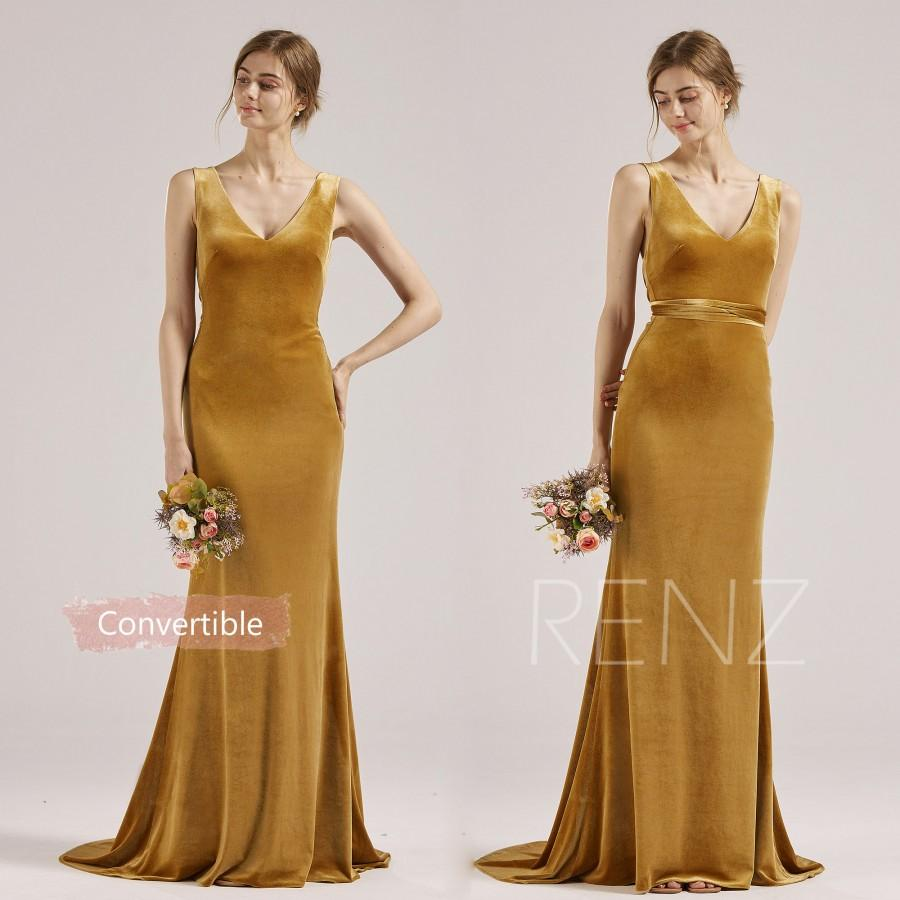 Wedding - Ginger Velvet Bridesmaid Dress V Neck Party Dress Low Back Fitted Wedding Dress Sash Bow Tie Convertible Prom Dress with Long Train (RV015)